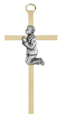 "4 1/4"" First Communion Boy Brass Cross - 4/pk"