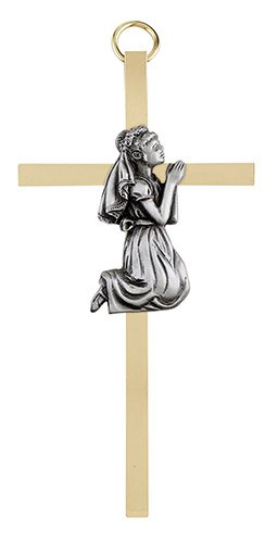 "4 1/4"" First Communion Girl Brass Cross - 4/pk"