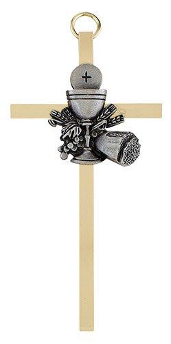 "4 1/4"" First Communion Chalice Brass Cross - 4/pk"