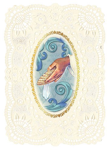 Baptism Deluxe Embossed Holy Card -12/pk