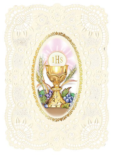 First Communion Deluxe Embossed Holy Card - 12/pk