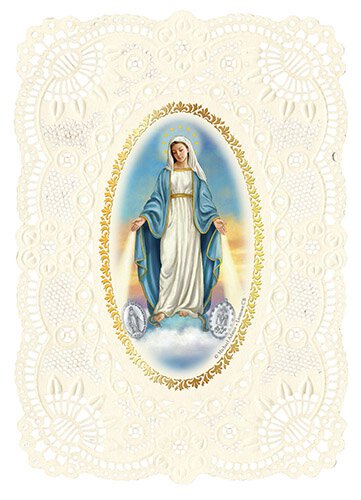 Our Lady of the Miraculous Medal Deluxe Embossed Holy Card - 12/pk