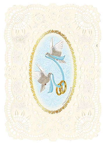 Wedding Deluxe Embossed Holy Card - 12/pk
