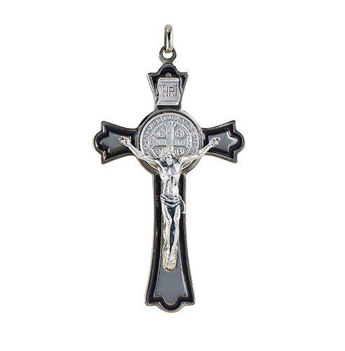St. Benedict Oxidized Crucifix - Silver