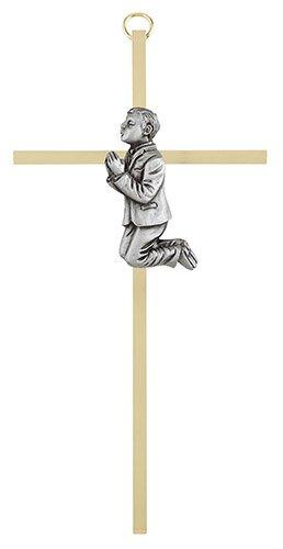"""7"""" First Communion Boy Brass Cross"""