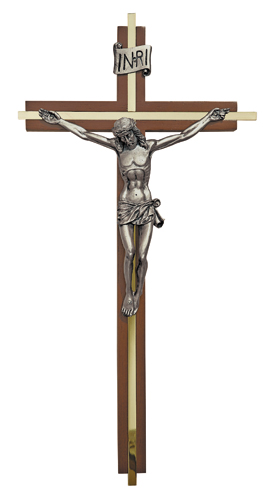Walnut Finish Crucifix with Gold Plate Inlay