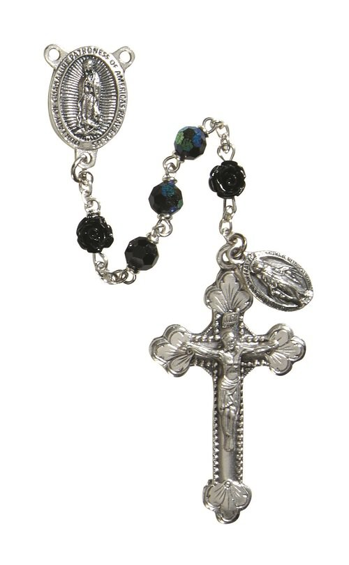 Our Lady of Guadalupe Rose 6MM Black Rosary