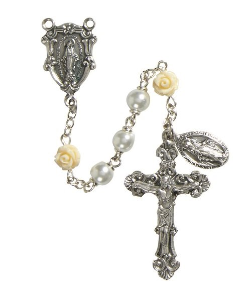 Miraculous Rose 6MM White Rosary