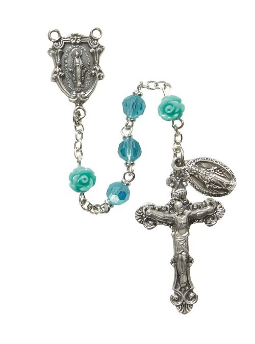Our Lady of Guadalupe Rose 6MM Aqua Rosary