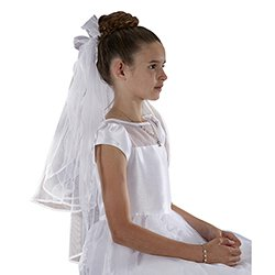 Sheer Bows with Flowers First Communion Veil