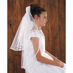 Satin and Sheer Rosebuds First Communion Veil