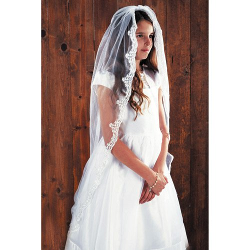 "45"" Lace Mantilla First Communion Veil"