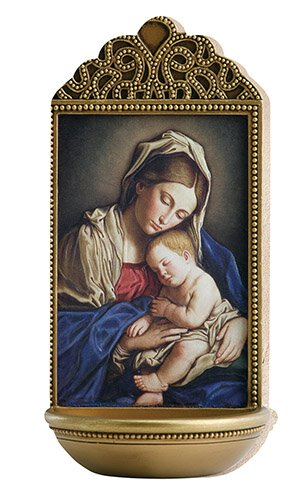 "Sassoferrato Madonna and Child 6"" Holy Water Font"