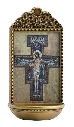 "San Damiano Crucifix 6"" Holy Water Font"
