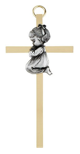 "4 1/4"" Baby Girl Brass Cross - 4/pk"