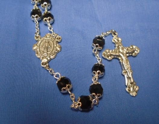 Jet Double Capped Crystal Rosary