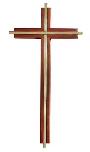 Walnut Finish Crucifix - Antique Gold Plate Figure