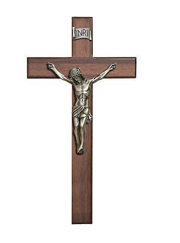 Crucifix Walnut  Cross Antique Pewter
