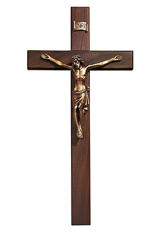 Crucifix Walnut  Cross Antique Bronze