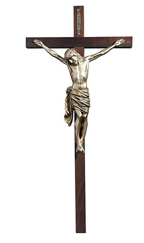 Crucifix Walnut Cross Antique Silver Finish