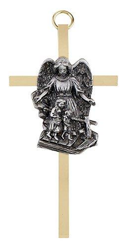 """4 1/4"""" Guardian Angel Brass Cross"""