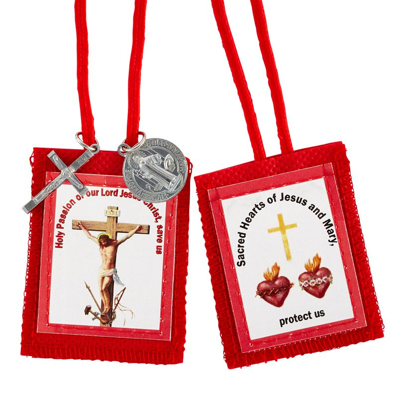Red Passion Scapular with Medals - 12/pk