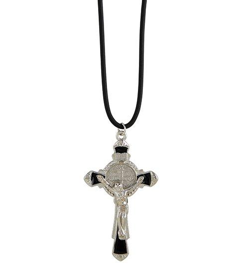 St. Benedict Enamel Crucifix Pendant with Pouch - 12/pk