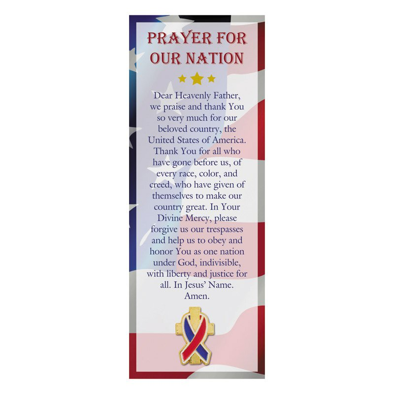 Prayer for Our Nation Lapel Pin with Bookmark - 12/pk