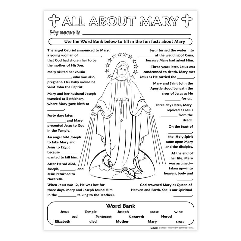 Color Your Own Poster - All About Mary - 50/pk