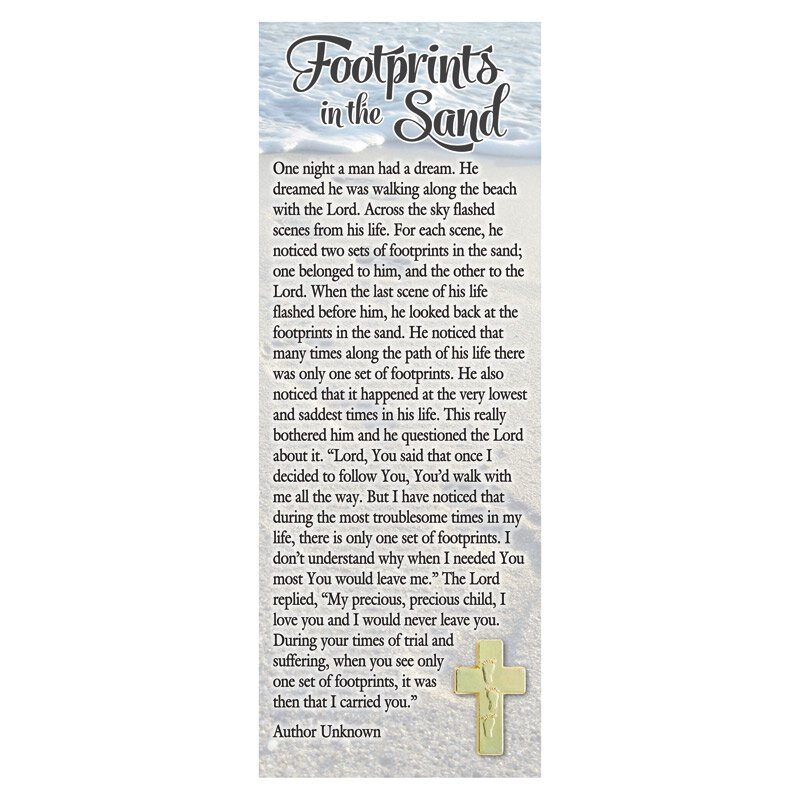 image relating to Footprints in the Sand Printable titled Footprints Lapel Pin with Bookmark - 12/pk