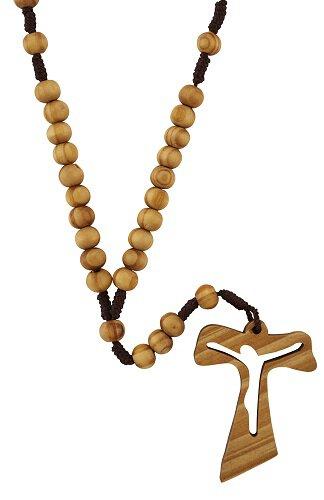 Tau Crucifix Corded Wood Rosary - 12/pk