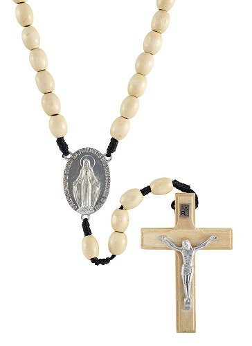 10mm Blonde Wood Cord Rosary - 6/pk