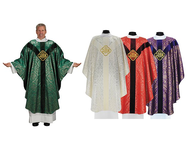 Semi Gothic IHS Chasuble - Set of 4