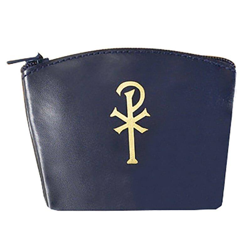 Chi Rho Zippered Rosary Case - Blue - 12/pk