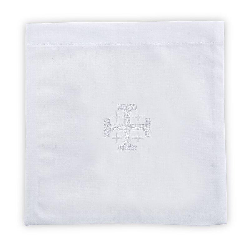 100% Linen Jerusalem Cross Chalice Pall - 4/pk