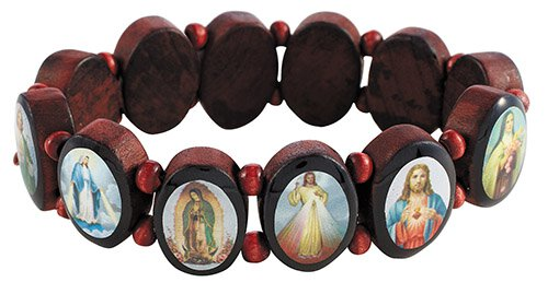 Oval Panels Devotional Saints Bracelet - 10/pk
