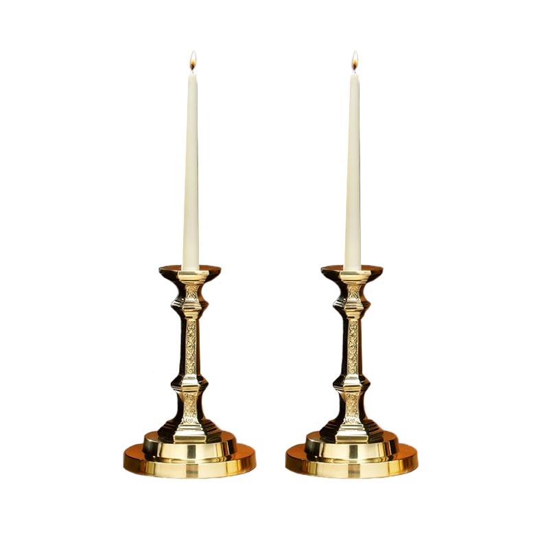 Budded Candlesticks with Filigree Design - Set of 2