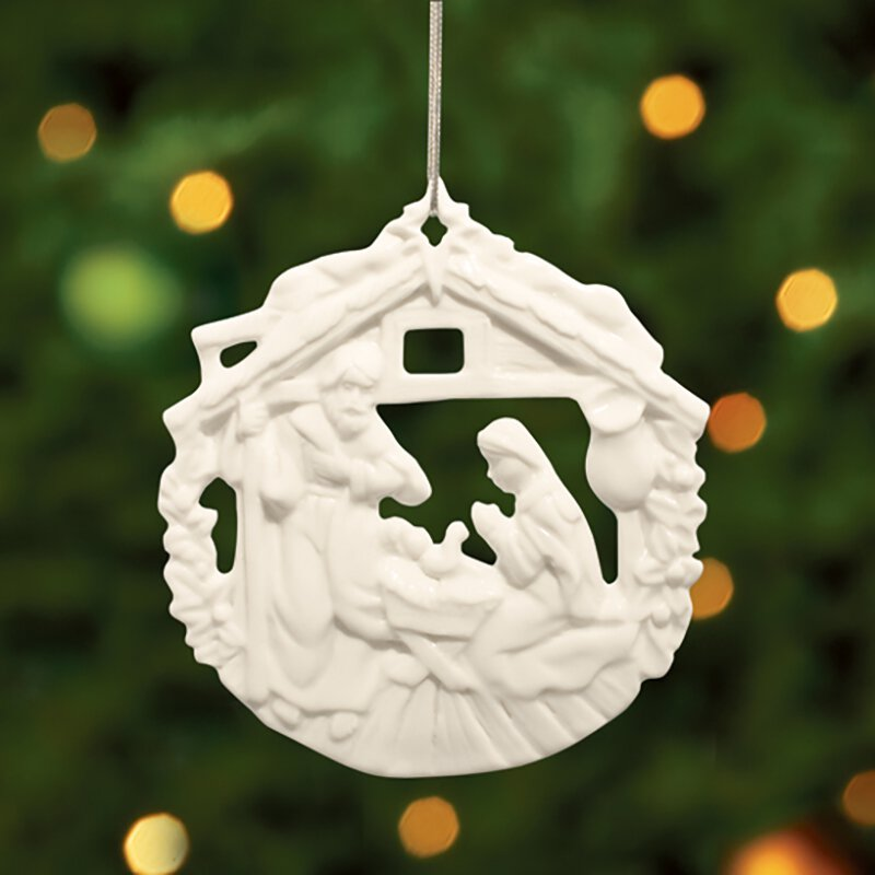 Round Nativity Ornament - 12/pk