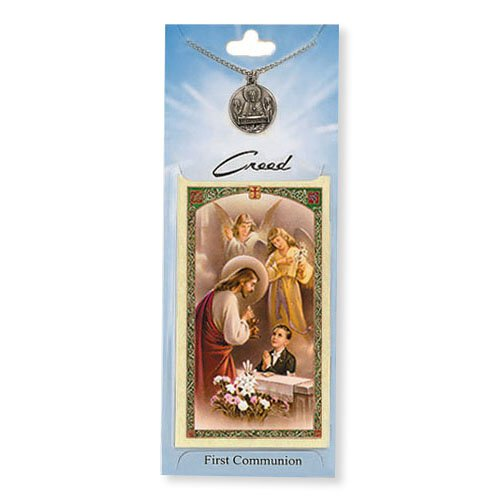 Boy's First Communion Prayer Card with Medal