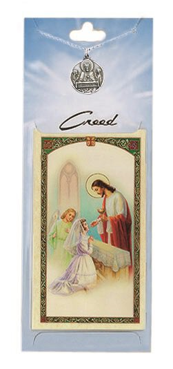 Girl's First Communion Prayer Card with Medal