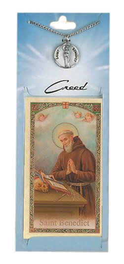 St. Benedict Prayer Card with Pewter Medal