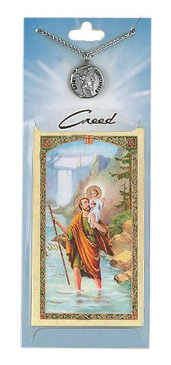 St. Christopher Prayer Card with Pewter Medal
