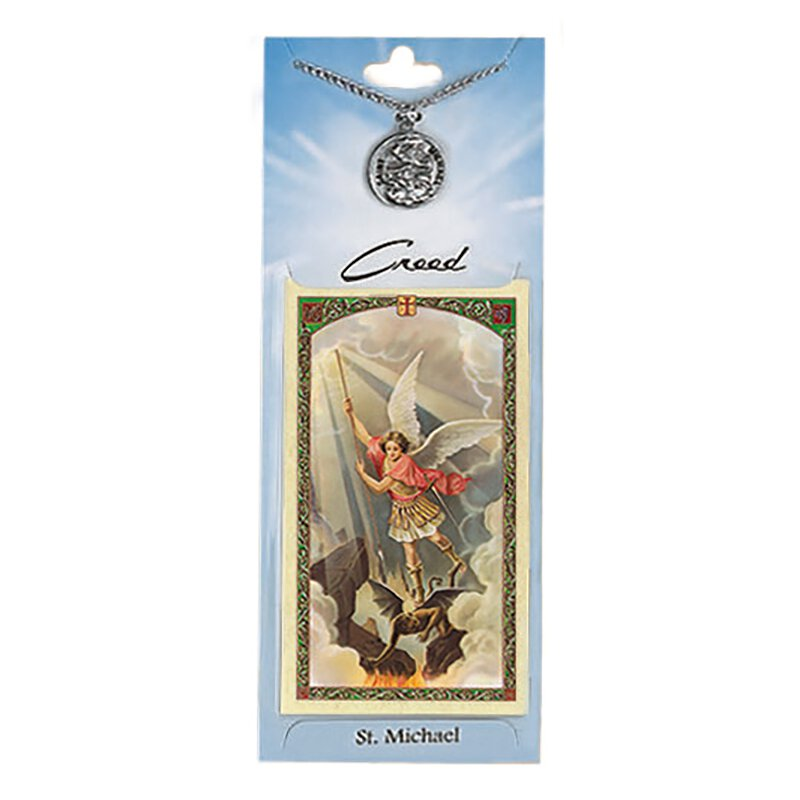 St. Michael Prayer Card with Pewter Medal