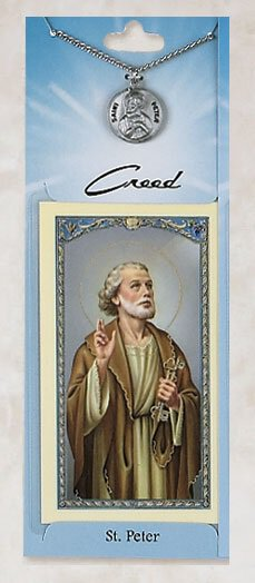 St. Peter Prayer Card with Pewter Medal
