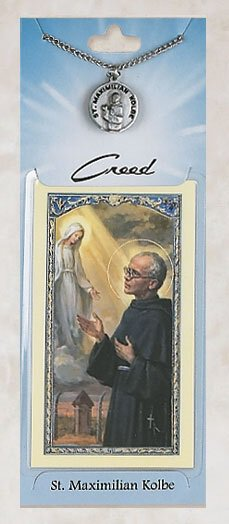 St. Maximillian Kolbe Prayer Card with Pewter Medal