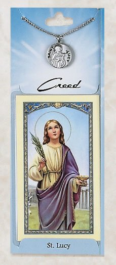 St. Lucy Prayer Card with Pewter Medal