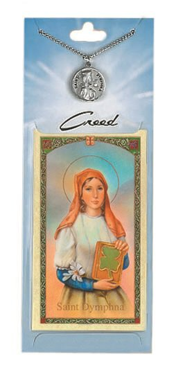 St. Dymphna Prayer Card with Pewter Medal