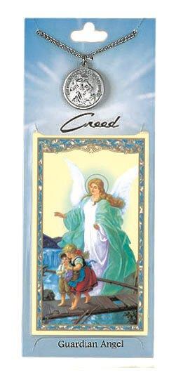 Gaurdian Angel Prayer Card with Pewter Medal