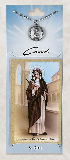 St. Rose Prayer Card with Pewter Medal