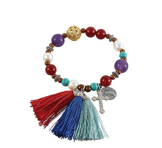 Our Lady of Grace Gemstone Tassel Bracelet